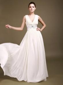 A-Line V-Neck Chiffon Wedding Dresses 00101001