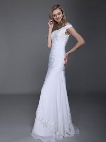 Sheath/Column Off-the-shoulder Chiffon Wedding Dresses 00101024