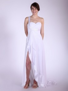 Sheath/Column One Shoulder Chiffon Wedding Dresses 00101036