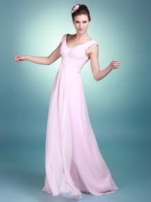 Sheath/Column V-neck Chiffon Wedding Dresses 00101061