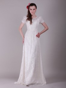 A-line Short Sleeves Lace Wedding Dresses 00101074