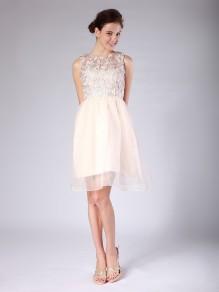 A-line Bateau Knee-length Wedding Dresses 00101075