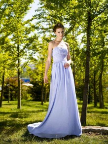 Sheath/Column Strapless Chiffon Wedding Dresses 00101081
