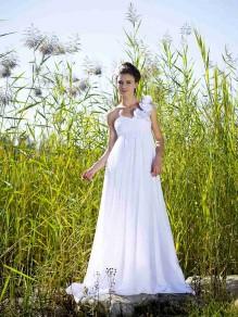 Sheath/Column Empire One Shoulder Sweetheart Chiffon Maternity Wedding Dresses 00101082