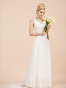 Sheath/Column V-neck Chiffon Wedding Dresses 00101087