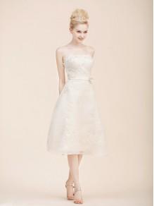 A-line Strapless Organza Knee-length Wedding Dresses 00101089