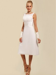 A-line Tea-length Chiffon Wedding Dresses 00101091