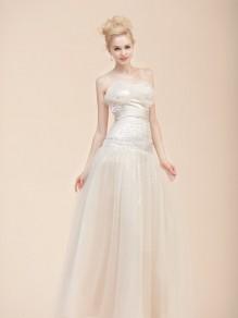 Sheath/Column Sweetheart Tulle Wedding Dresses 00101092