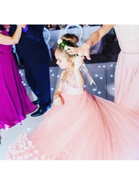Ball Gown Beaded Tea-length Flower Girl Dresses