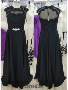 A-Line Illusion Bodice Lace Chiffon Black Long Mother of The Bride Dresses 907009