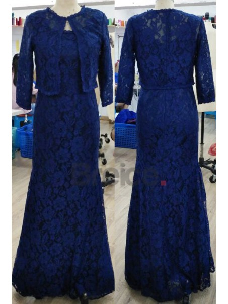 Long Blue Mermaid Lace Evening Dresses Mother of The Bride Dresses with A Lace Jacket 2103034