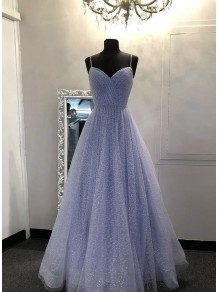 A-Line Sequins Tulle Long Prom Dresses Formal Evening Gowns 995011016