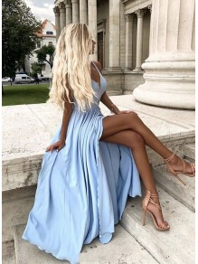 A-Line V-Neck Long Prom Dresses Formal Evening Gowns 995011019
