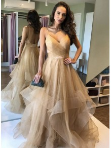 A-Line Tulle V-Neck Long Prom Dresses Formal Evening Gowns 995011023