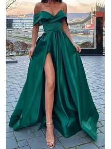 A-Line Off-the-Shoulder Long Prom Dresses Formal Evening Gowns 995011043