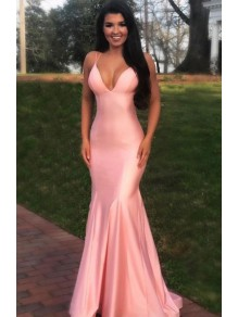 Mermaid V-Neck Long Prom Dresses Formal Evening Gowns 995011058