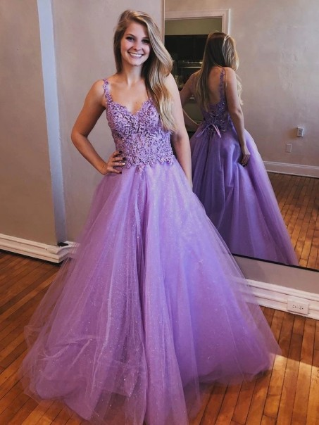 A-Line Beaded Lace Tulle Long Prom Dresses Formal Evening Gowns 995011108