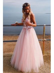 A-Line Tulle V-Neck Long Prom Dresses Formal Evening Gowns 995011109