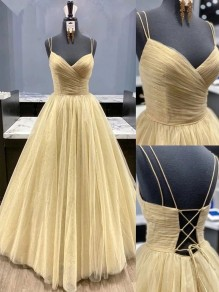 A-Line Tulle Long Prom Dresses Formal Evening Gowns 995011163