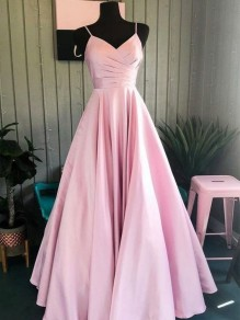 A-Line V-Neck Long Prom Dresses Formal Evening Gowns 995011175