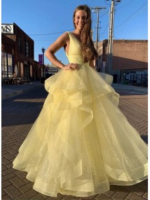 Long Yellow Tulle V-Neck Prom Dresses Formal Evening Gowns 995011189