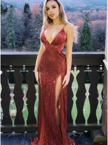 Sequins V-Neck Long Prom Dresses Formal Evening Gowns 995011224
