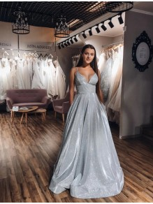 A-Line V-Neck Long Prom Dresses Formal Evening Gowns 995011232