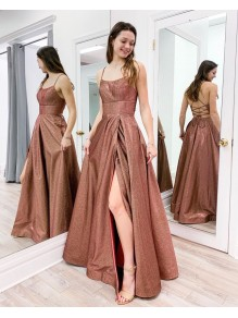 A-Line Sparkle Long Prom Dresses Formal Evening Gowns 995011233