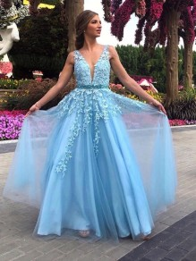 A-Line Beaded Lace Long Prom Dresses Formal Evening Gowns 995011255