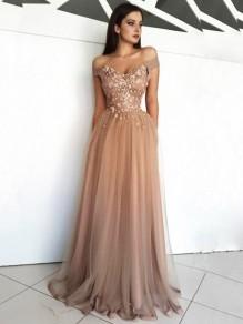 Elegant Off-the-Shoulder Beaded Lace Tulle Long Prom Dresses Formal Evening Dresses 99501126