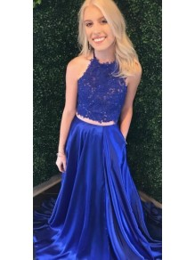 A-Line Beaded Lace Two Pieces Long Prom Dresses Formal Evening Gowns 995011376