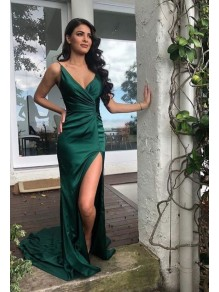 Sheath V-Neck Long Prom Dresses Formal Evening Gowns 995011379