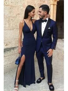 Long Navy Blue V-Neck Prom Dresses Formal Evening Gowns 995011423