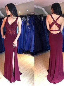 Long Lace V-Neck Prom Dresses Formal Evening Gowns 995011460