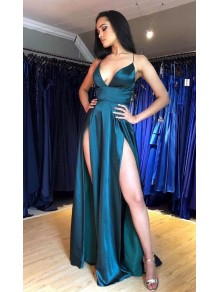 Sexy Long V-Neck Prom Dresses Formal Evening Gowns 995011461