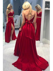 A-Line Long Red Two Pieces Prom Dresses Formal Evening Gowns 995011468