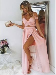 A-Line Long Pink Off-the-Shoulder Prom Dresses Formal Evening Gowns 995011471