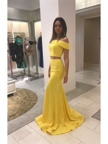 Long Yellow Mermaid Two Pieces Prom Dresses Formal Evening Gowns 995011477