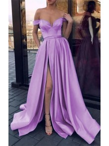 A-Line Off-the-Shoulder Long Prom Dresses Formal Evening Gowns 995011537