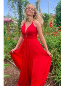 A-Line Long Red Chiffon Prom Dresses Formal Evening Gowns 995011594