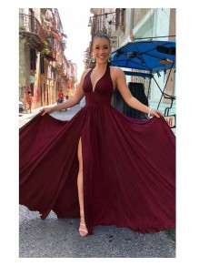 A-Line Simple V-Neck Long Prom Dresses Formal Evening Gowns 995011595
