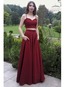 A-Line Two Pieces Long Prom Dresses Formal Evening Gowns 995011614
