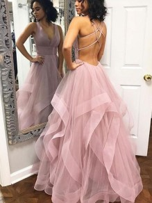 Long Tulle V-Neck Prom Dresses Formal Evening Dresses 99501189