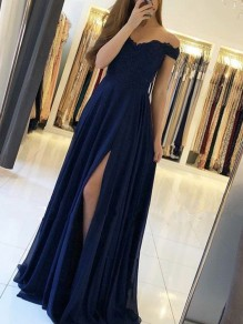 Chiffon Lace Off-the-Shoulder Long Prom Dresses Formal Evening Dresses 99501192