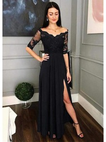 Lace and Chiffon V-Neck Long Mother of the Bride Dresses Formal Evening Dresses 99501210