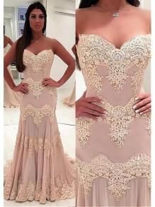 Mermaid Sweetheart Lace Long Prom Dresses Formal Evening Dresses 99501226