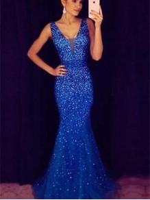 Mermaid V-Neck Beaded Long Prom Dresses Formal Evening Dresses 99501239