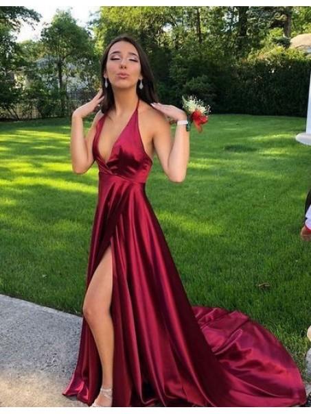 A-Line Halter V-Neck Long Prom Dresses Formal Evening Dresses 99501270
