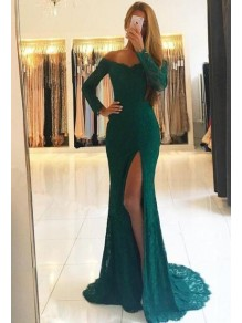 Mermaid Off-the-Shoulder Lace Long Sleeves Prom Dresses Formal Evening Dresses 99501288