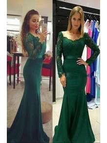 Mermaid Lace Long Sleeves Long Prom Dresses Formal Evening Dresses 99501337